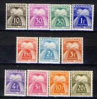 Andorra Chiffre Taxe 1943-46 Serie N. 21-31 MVLH Catalogo € 25 - Nuovi