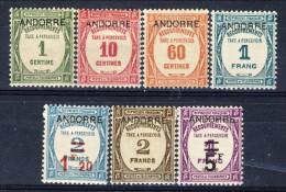 AndorraTimbre Taxe 1931-32 Serie 9-15 Completa * MVLH Catalogo € 625 - Nuovi