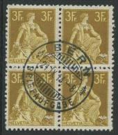 765 - 3 Fr. Helvetia Mit Schwert Im Viererblock - Gebraucht