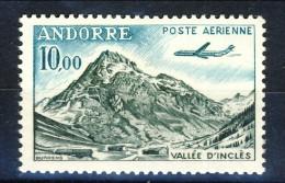 Andorra 1961-64 Posta Aerea N. 8 Vallé D'Inclès Fr. 10 MNH Catalogo € 5,50 - Poste Aérienne