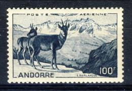 Andorra 1950 Posta Aerea N. 1 Paesaggio Fr. 100 Blu-nero * MLH Catalogo € 62 - Poste Aérienne