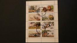 India Nagaland Fauna Animals Zebra Giraffe Cheetah Tiger Monkey More Block Of 8 Cancelled 1972 WYSIWYG A04s - Stamps