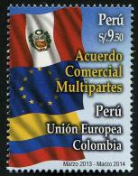 Peru (2014) - Set -   /  Flags - European Union - Colombia - Perù