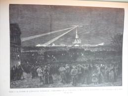Cloture Exposition Universele , L'embrasement De La Tour Eiffel Vu De Montmartre  , Gravure D'aprés Dessin Paillard 1889 - Stiche & Gravuren