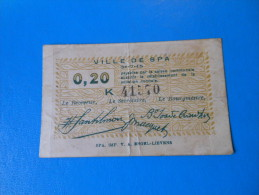 Belgique Belgium Spa 1ère Guerre Mondiale  , 20 Centimes 31-7-1915 - [ 3] Ocupaciones Alemanas En Bélgica