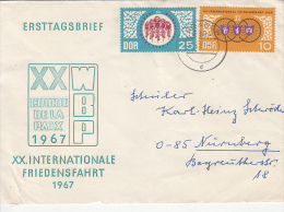 35668- CYCLING PEACE RACE WARSAW-BERLIN-PRAGUE, COVER FDC, 1967, EAST GERMANY - Radsport