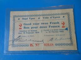 Belgique Belgium Ypres 1ère Guerre Mondiale  , 2 Francs 15-2-1915 - [ 3] Occupations Allemandes De La Belgique