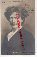POLOGNE - RARE CARTE PHOTO MUSICIEN PADEREWXKI - PIANISTE  PIANO- 1901 - Music And Musicians