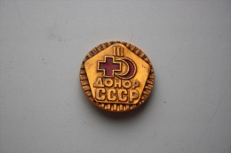USSR Russia Old Pin Badge - Blood Donor 3rd Class - Games
