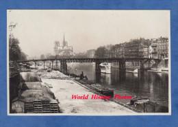 Photo Ancienne - PARIS - Pont En Travaux à Identifier - Péniche à Quai - Vieux Métier - Ile Saint Louis - 1920 1930 - Photos