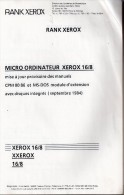 Micro Ordinateur Xerox 16/8 - Manuel (sans Disque) - Informatique