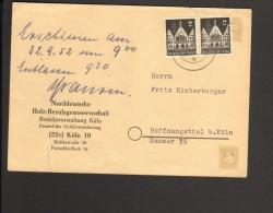 Drucksache  Von 1952 Mit 2 X 20 Pfg. Bauten - Bizone
