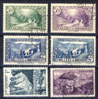 Andorra 1948-51 Lotto Di 6 Francobolli Di Varie Serie  (n. 64, 65, 86, 89, 135, 138 USATI). Catalogo € 13,60 - Andorra Francese