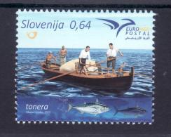 1242 Slowenien Slovenia 2015 Mi.No. 1158 ** MNH Euromed France Italy Malta Monaco Portugal Spain Turkey Ship Boat - Schiffe
