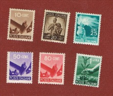 ITALIA REPUBBLICA -  UNIF. 543.565 - 1946  DEMOCRATICA: 6 VALORI DELLA SERIE   - NUOVI ** (MINT) - 6. 1946-.. Republic