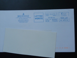 Cabaret Moulin Rouge Tarif Lettre Verte Paris EMA Sur Lettre Slogan Meter On Cover - Windmills