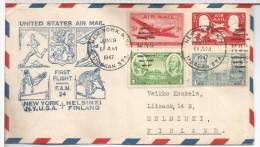 ESTADOS UNIDOS FIRST FLIGHT FAM 24 PRIMER VUELO NEW YORK HELSINKI DEPORTES ESQUI SKI JABALINA ATLETISMO  AL DORSO MAT HE - Poste Aérienne