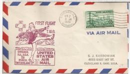 ESTADOS UNIDOS FIRST FLIGHT FAM 27 PRIMER VUELO CHICAGO ZURICH 1949 MARCA PATINAJE SOBRE HIELO AL DORSO MAT ZURICH FLUGH - Eiskunstlauf