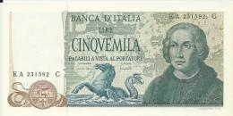 """ITALIA REPUBBLICA - LIRE 5000 COLOMBO """"3 CARAVELLE"""" - 20 MAGGIO 1971 - FIOR DI STAMPA - RARA - 5000 Lire"""