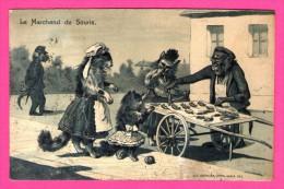 Anthropomorphisme - Singes - Le Marchand De Souris - Gaufrée - Relief - K.F. SERIE 337 - Monos