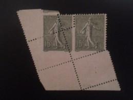 Variété Semeuse Lignée - N°130:  15c : Superbe Piquage à Cheval - Curiosities: 1900-20 Mint/hinged