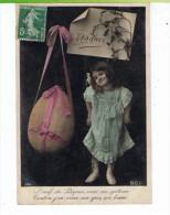 CPA-1908-FANTAISIE-JOYEUSES PÂQUES-ENFANTS-UNE TOUTE PETITE FILLE ESPIEGLE AVEC UN ŒUF ENORME- - Pâques