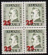 1941. Surcharge. Matthias Jochumsson. 25 Aur On 3 Aur Greenish Grey 4-Block. (Michel: 222) - JF191780 - 1918-1944 Unabhängige Verwaltung