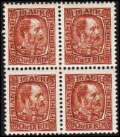 1902. King Christian IX. 16 Aur Brown 4-Block. (Michel: 40) - JF191749 - Oblitérés