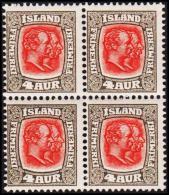 1907. Two Kings. 4 Aur Grey/red. Perf. 12 3/4, Wm. Crown 4-Block. (Michel: 50) - JF191753 - Oblitérés