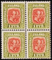 1908. Two Kings. 1 Eyr Green/red. Perf. 12 3/4, Wm. Crown 4-Block. (Michel: 48) - JF191752 - Oblitérés