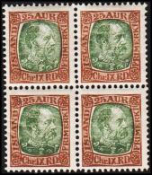 1902. King Christian IX. 25 Aur Brown/green 4-Block. (Michel: 42) - JF191751 - Oblitérés