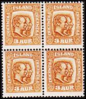 1915. Two Kings. 3 Aur Brown/yellow. Tk. 14x14½, Wm. Cross 4-Block. (Michel: 77) - JF191754 - Oblitérés