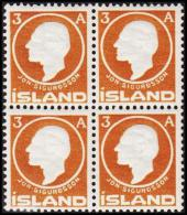 1911. Jon Sigurdsson. 3 Aur Yellow Brown 4-Block. (Michel: 64) - JF191756 - Oblitérés