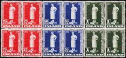 1941. Snorri Sturluson. Set Of 3 4-Block. (Michel: 223-225) - JF191808 - 1918-1944 Administration Autonome