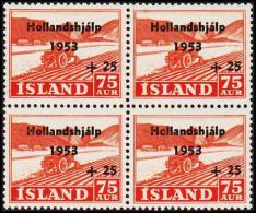 1953. Hollandshjalp. 75 Aur + 25 Aur 4-Block. (Michel: 285) - JF191813 - 1944-... Repubblica