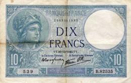 Banque De France  - Dix Francs  - VY. 26=12=1940.VY. - 1871-1952 Antichi Franchi Circolanti Nel XX Secolo