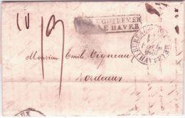 """1836- Lettre De Valparaiso (Chili) Entrée Le Havre Et  """"acheminée Par Rud Y Lehering,Rio, Le 20-10-36 - 1801-1848: Précurseurs XIX"""