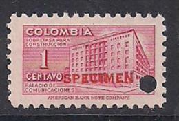Colombia. SPECIMEN. American Bank Note C. Ministerio Comunicaciones. 1 Y 5 Cent. - Colombia