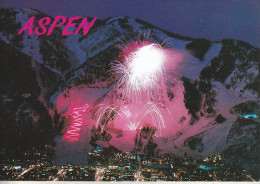 ASPEN - And Aspen Mountain In Winter, With Skier´s Torchight Descent And Fireworks - Etats-Unis