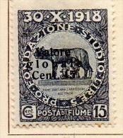 """PIA - FIUME  - 1919 -  Francobolli Pro Fondazione Studio Soprastampati """"VALORE  GLOBALE""""    -  (UN 103) - Fiume"""
