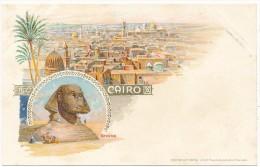 LE CAIRE -  Carte Souvenir Litho - Vue Générale, Sphynx - Etat Superbe - Cairo