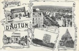 Souvenir D´Autun - Multivues: Vue Générale, Temple De Janus, Portes... - Edition E. Caïus - Souvenir De...