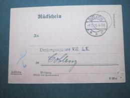 1919 , Dülken   , Klarer Stempel Auf Rückschein - Duitsland