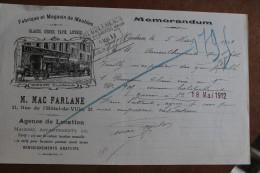 VERDUN   -        M  .  MAC  FARLANE           FACTURE                  1912 - Lebensmittel