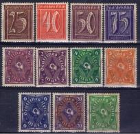 DR+ Deutsches Reich 1921 1922 Mi 180 182-83 185 191 193-94 207 224 228 232 Mlh Posthorn, Ziffer - Germania