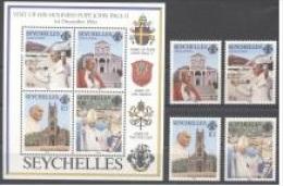 Seycelles 1986, Visit Of Pope J. Paul II, Arms, 4val+BF - Francobolli