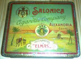 Empty Cigarette Tin SALONICA ELMAS For 100 Cigarettes - Egypt 1920 - Schnupftabakdosen (leer)