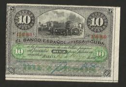 CUBA - 10 PESOS - (HABANA - 1896) El Banco Espanol de la Isla de Cuba