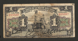BOLIVIA - El BANCO De La NACION BOLIVIANA - 1 BOLIVIANO (1911) - Bolivia