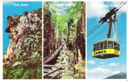 Franconia Notch, White Mountains, New Hampshire  Old Man of the Mountains  The Flume Gorge  Aerial Tramway on Cannon Mt.